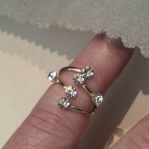 Jewelry - Rhinestone goldtone midi ring adjustable sz 3 NWT